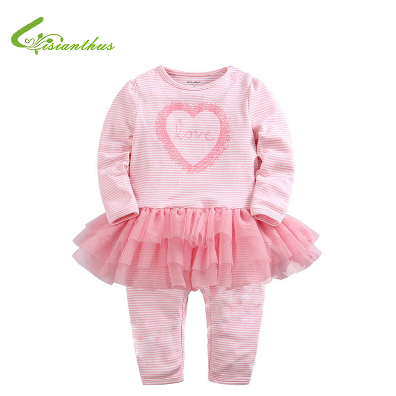 2017 Baby Girls Pink Striped Romper With Tutu Skirt Love Heart Full Sleeve Cotton Rompers Spring Summer Clothing Free Shipping<br><br>Aliexpress