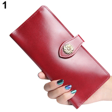 Women Faux Leather Sunflower Buckle Button Long Wallet Coin Card Holder Purse(China)