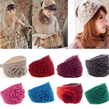 Flower Hairband Women Knitted Headwrap Knitting Crochet Headband Ear Warm for Girls Women Headwear hair accessories 8 Colors