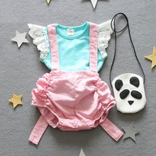 Cute Angel Toddler Baby Summer Clothes Set Lace Cap Sleeve Blouse+Bib Bottom