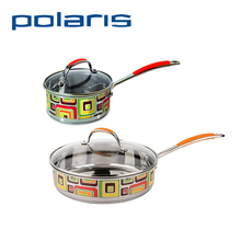 Polaris FL-16SP/24SP Non-stick Frying Pan 16cm/24cm Combined color Stainless steel Deep stewing pan Fresh Line with Cover