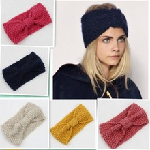 6 Colors Women Fashion Woolen Knitted Crochet Bow Turban Knitted Headwrap Hair Band Ear Broadside Comfort Warmer Headband(China)