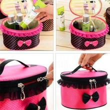 Hot Women Bow Cosmetic Bag Lace Portable Travel Zipper Makeup Storage Organizer Box Holder Handbag Beauty Case-Rose Red + Dots(China)