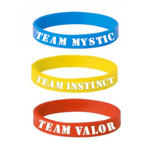 1 PCS New Pokemon GO Bracelet Team Valor Instinct Mystic Logo Red Blue Yellow Silicone Bracelets Sports Women and Men fans