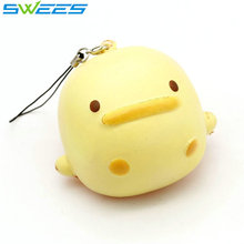 1PCS 7CM Kawaii Cute Mascot Duck Phone Straps Squishy Slow Rising Scented Sweet Cream Charms Bread Kids Toy Gift Wholesale
