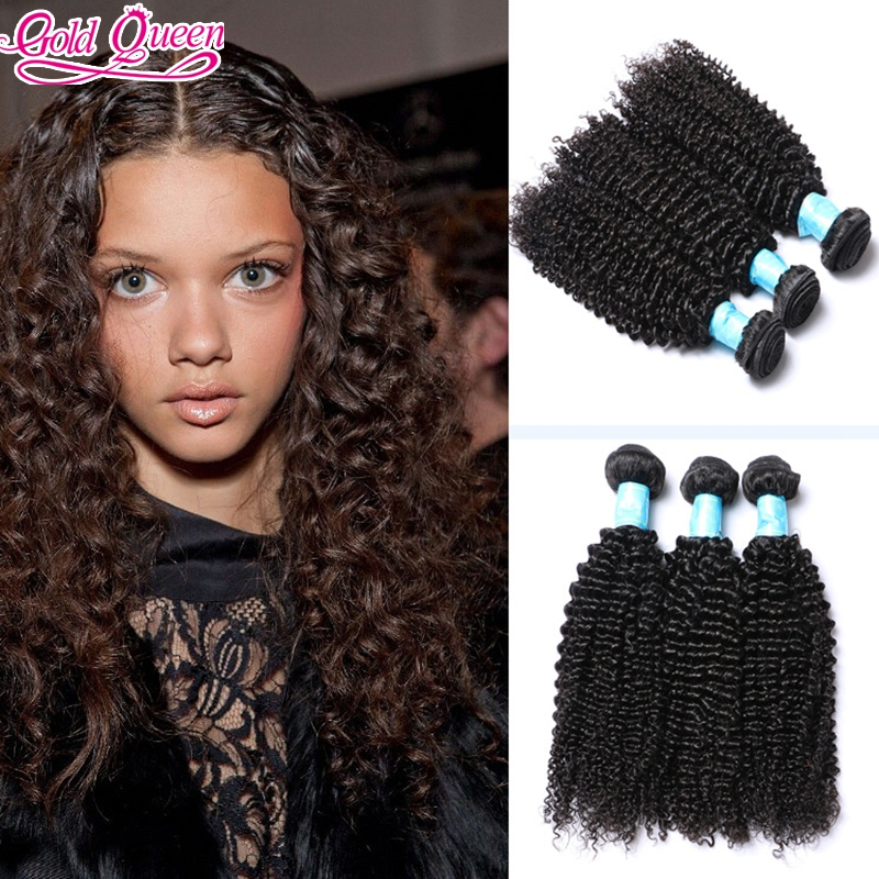 Natural Black Gold Queen Product Double Weft Brazilian Kinky Curly Virgin 3 Bundles CurlyB Weave hair extensions for lack women<br><br>Aliexpress