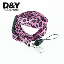 Fashion New Hot 12pcs Pink Leopard Phone Lanyard Keychain MP3/4 ID Card holder Neck straps lanyards Wholesale Free shipping(China)