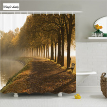 Shower Curtain Bathroom Accessories Canal Walkway Landscape Morning Foggy Blurry City Orange Brown 180*200 cm