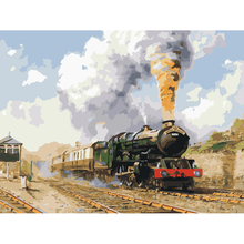 FUNIQUE Frameless Train Oil Painting By Numbers Digital Canvas Nordic DIY Coloring Wall Arts Picture Decoration For Room 40x50cm