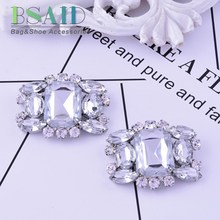 BSAID 1 Piece Fashion Decorative Shoe Clips Accessory, Fashion Women Wedding Charm Shoes Crystal Accessories Clamp Ornament(China)