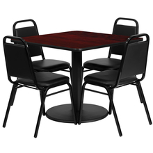 Flash Furniture 36'' Square Mahogany Laminate Table Set with 4 Black Trapezoidal Back Banquet Chairs [863-RSRB1010-GG]()