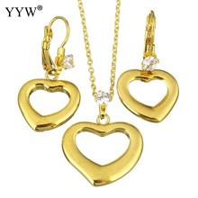 Fashion Stainless Steel Jewelry Sets earring & necklace Heart gold color plated oval chain & for woman rhinestone Sold By Set
