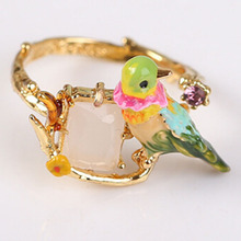 Elegant Hummingbird Design Adjustable Rings Women Jewelry For Party Gift Cute Bird Ring(China)