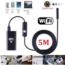 5M WIFI Endoscope USB Camera 8mm lens Borescope Inspection Endoskop HD Endoscopic Camera for Android iphone(China)