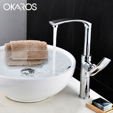 OKAROS Bathroom Basin Faucet Brass Faucet White Green Red Orange Kitchen Unique Vintage Hot Water Sink MixerTap Torneira Parede(China)