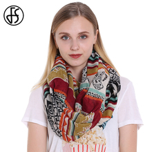 FS Winter Scarves For Women Voile Infinity Collar Ring Scarf Cashew Geometry Print Feminine 2017 Luxury Brand Scarves Echarpe(China)
