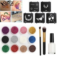 12 Colors Temporary Shimmer Diamond Powder 3D Glitter Tattoo Kit Body Art Design Paint With 5 Stencil Glue & 2 Brushes 2017