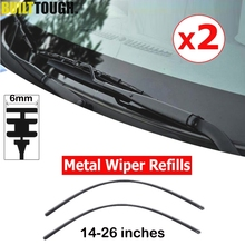 2Pcs Car Rubber Wiper Blade Refill For Metal Wiper 14''16'' 22'' 24'' 26''6mm Wiper Refill Universal Windscreen FRONT Window