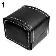 Faux Leather Square Jewelry Watch Case Display Gift Box with Pillow Cushion