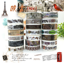 (5 pieces/lot) Vintage European Style Washi Tape Masking Tape DIY Scrapbooking Sticker 15MM*10M