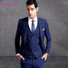Nuevo Últimas Bragas de la Capa Diseños Traje Azul Marino Hombres Prom  Tuxedo Estilo Slim Fit 3 Unidades Novio Trajes para hombr. f5e6eee7a08