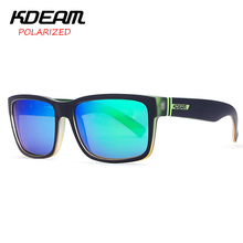 KDEAM Polarized Sunglasses 2017 New Men Square Sun Glasses Women Party Mirror lens Sport Elmore 6 Colors UV400 With Case KD505(China)