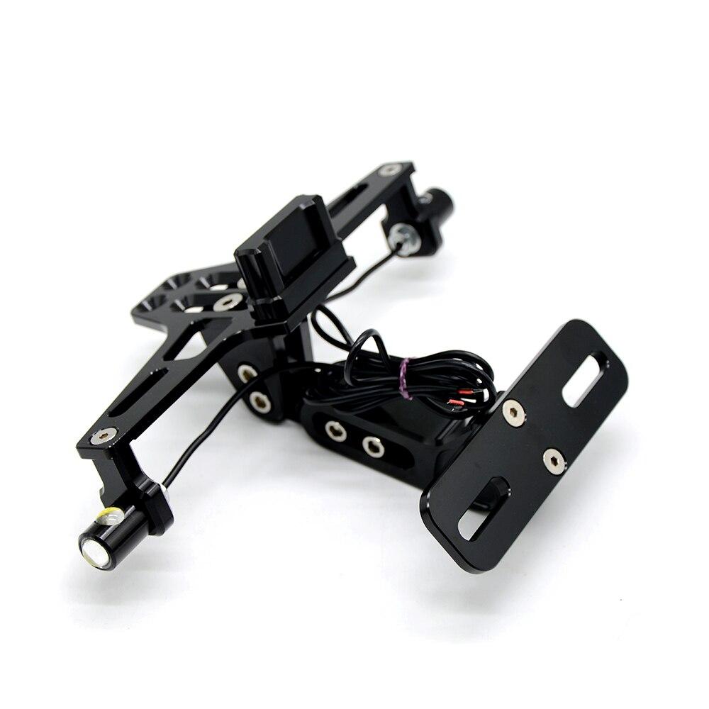 Universal Motorcycle LED light License Plate Adjustable Multi-angle rear folding adjustable Fender Bracket Holder For Sport Bike<br>
