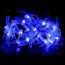 Dragonfly Shaped 20 LED Solar Light Garden Colorful String Lights Solar Powered Outdoor Lighting Home Decor(China)