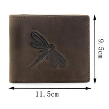 Men Wallet 100% Genuine Leather Dragonfly pattern Vintage short Wallet  personality Purse With Zipper Coin Pocket