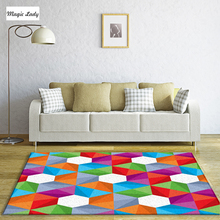 Modern Carpet Designs Living Room Bedroom Illusion Pattern Texture Cultural Shapes Lines Decorations Pentagons Red Beige Green