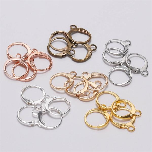 PKR 247.28  31%OFF   20pcs/lot 14*12mm Silver Gold Bronze French Lever Earring Hooks Wire Settings Base Hoops Earrings For DIY Jewelry Making Supplie