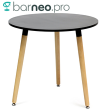 94928 Barneo T-12 MDF Interior Dinner Table Bar Round Table Kitchen Furniture Dining Table Black free shipping in Russia