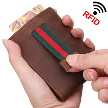 Buy Men's Crazy Horse Leather Money Clip Slim wallet Pocket Purse clamp Man Rfid Blocking Credit Card Bag ID Holder male for $10.65 in AliExpress store