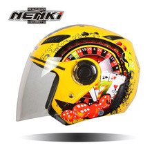 NENKI 2017 Hot Sale NENKI Unisex New Vintage Motorcycle Helmets Half Open Face Helmet Anti-UV Helmet Scooter White Yellow Blue(China)