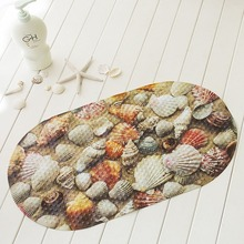 Anti-Slip PVC Bath Mat With Suction Cups Seaworld Turtle Fish Carpet Used For Bathroom Beach Shell
