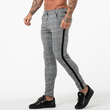 Gingtto Pants Chino-Trousers Slim-Fit Skinny Plaid-Design Fashion Stripe for Men Grey