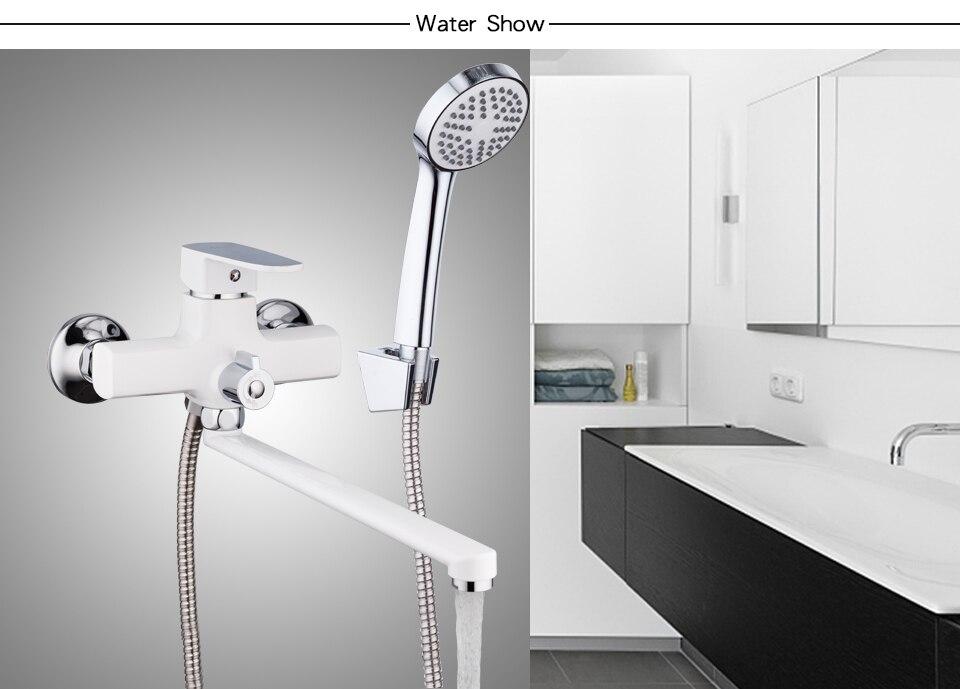 Long Spout White Bathtub Faucet 7