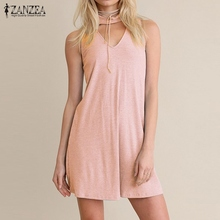 Buy ZANZEA Women 2018 Summer Sexy Line Mini Dress Halter Sleeveless Solid Hollow Casual Party Dresses Vestidos Plus Size