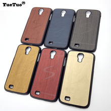 YueTuo original luxury hard case for samsung galaxy s4 s 4 i9500 mobile phone cover shell by wood back gold black wooden cases