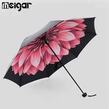 Flower Print Women Three Folding Umbrella Windproof Anti-UV Rain Sun Resistance Umbrella Parasol Travel Portable Rain Gear Favor(China)