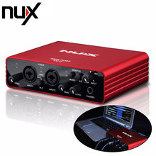 NUX UC-2 Mini Port USB XLR 6.35mm Input Output Audio Interface for Mic MIDI Instrument Recording Playback with Power Adapter Red