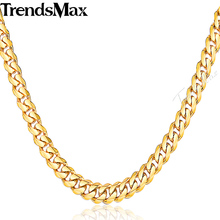 Trendsmax 3/5/7/9/11mm Womens Mens Gold Chain Curb Stainless Steel Necklace Wholesale Jewelry KNM08