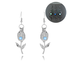 Silver Plated Glowing Stone Stud Earrings Hollow Flower Glow In The Dark Earrings Jewelry For Women Luminous Earrings(China)