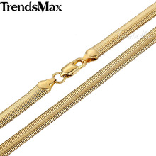 Trendsmax 3/6mm Mens Chain Boys SMOOTH FLEXIBLE Snake HERRINGBONE Rose Gold Filled Necklace Chain Wholesale Jewelry GN50