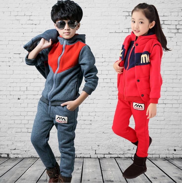 Winter down Tracksuits for girls Boys Clothes Sets Children Thickning Warm Hiver vetement garcon Vest + Jacket + sweat pants<br>