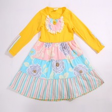 2017Hot Sale New style Summer and Autumn solid color on top with Flare Sleeves and Bib Baby Girls Dress Apparel Accessory(China)