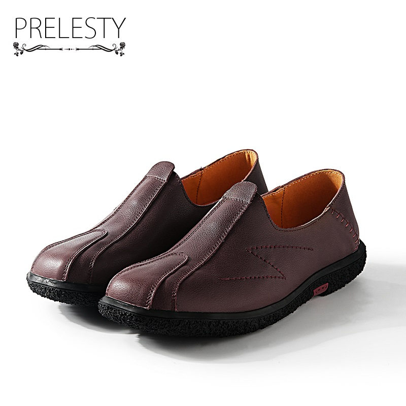 Prelesty Vintage Winter High Quality Genuine Leather Men Shoes Soft Moccasins Fashion Brand Men Flats Comfy Slip On Loafers<br>
