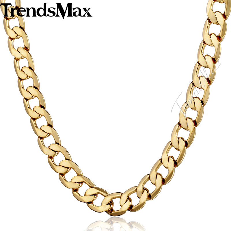 Trendsmax 4/8/10mm Curb Gold Filled Necklace Mens Boys Cuban Link Chain Wholesale Dropship Fashion Jewelry GNM48