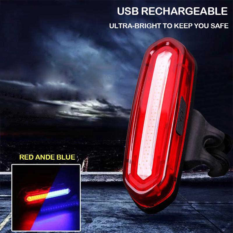 USB Rechargeable Mountain Bike Taillight Night Cycling COB Warning Light Lamp