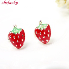 Japanese Girl Fashion Magazines Recommend Small Strawberry Stud Earrings Women Jewelry 2017(China)